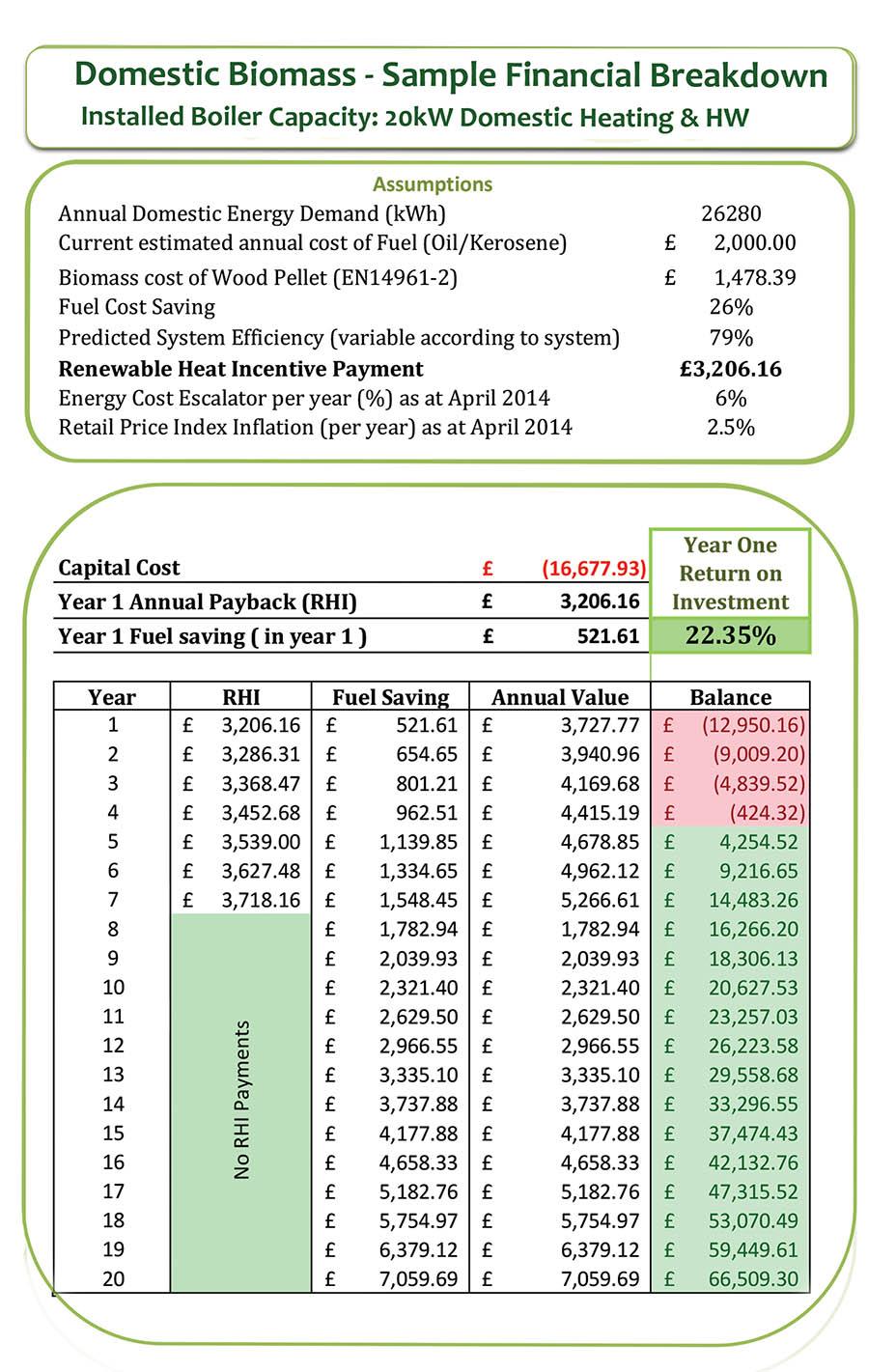 domestic biomass cashflow forecast
